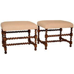 19th Century Pair of Upholstered Ottomans