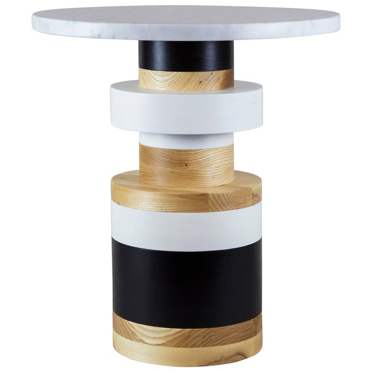 Customizable Medium Sass Side Table from Souda, Large Marble Top, Made to Order For Sale