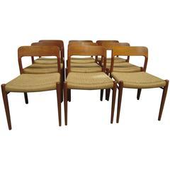 Set of Ten Model 75 Chairs by Niels O. Møller for J.L. Møllers Møbelfabrik
