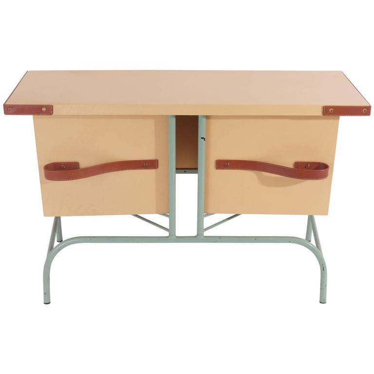 Jacques Adnet Console With Pivoting Drawers For Sale At