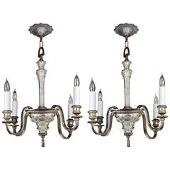 Early 20th Century American Empire Silver Plated Chandelier, Matching Pair