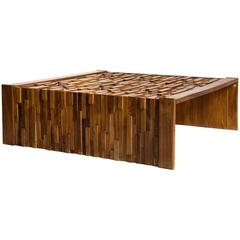 Large Brazilian Brutalist Jacaranda Coffee Table by Percival Lafer