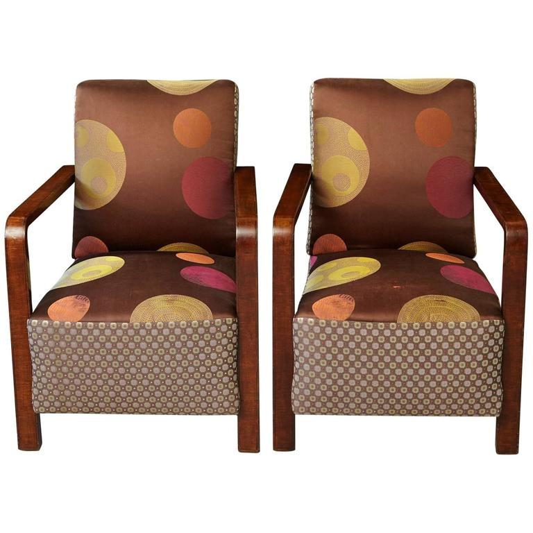 Pair of Argentinian Art Deco Lounge Chairs, Buenos Aires, ca 1930s For Sale