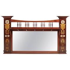 Enormous Arts & Crafts Mirror by Shapland & Petter with Glasgow Rose Inlay