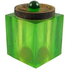 Mid-Century Modern Key Lime Green Resin Lucite Barware Ice Bucket by Colorflo