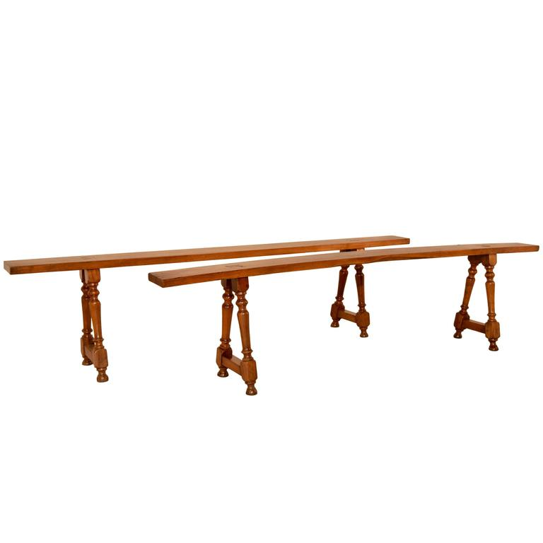 19th Century Pair of French Cherry Benches