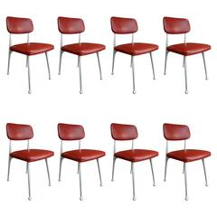 Set of Eight Aluminium and Red Leather Gazelle Chairs