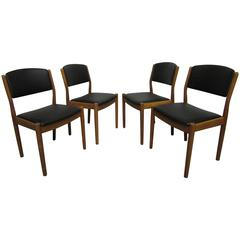 Scandinavian Classic Set of Four Poul Volther J61 Chairs in Oak and Leather