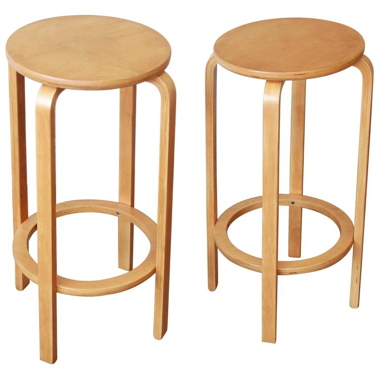 Alvar Aalto For Artek Model 64 Bentwood Bar Stools For