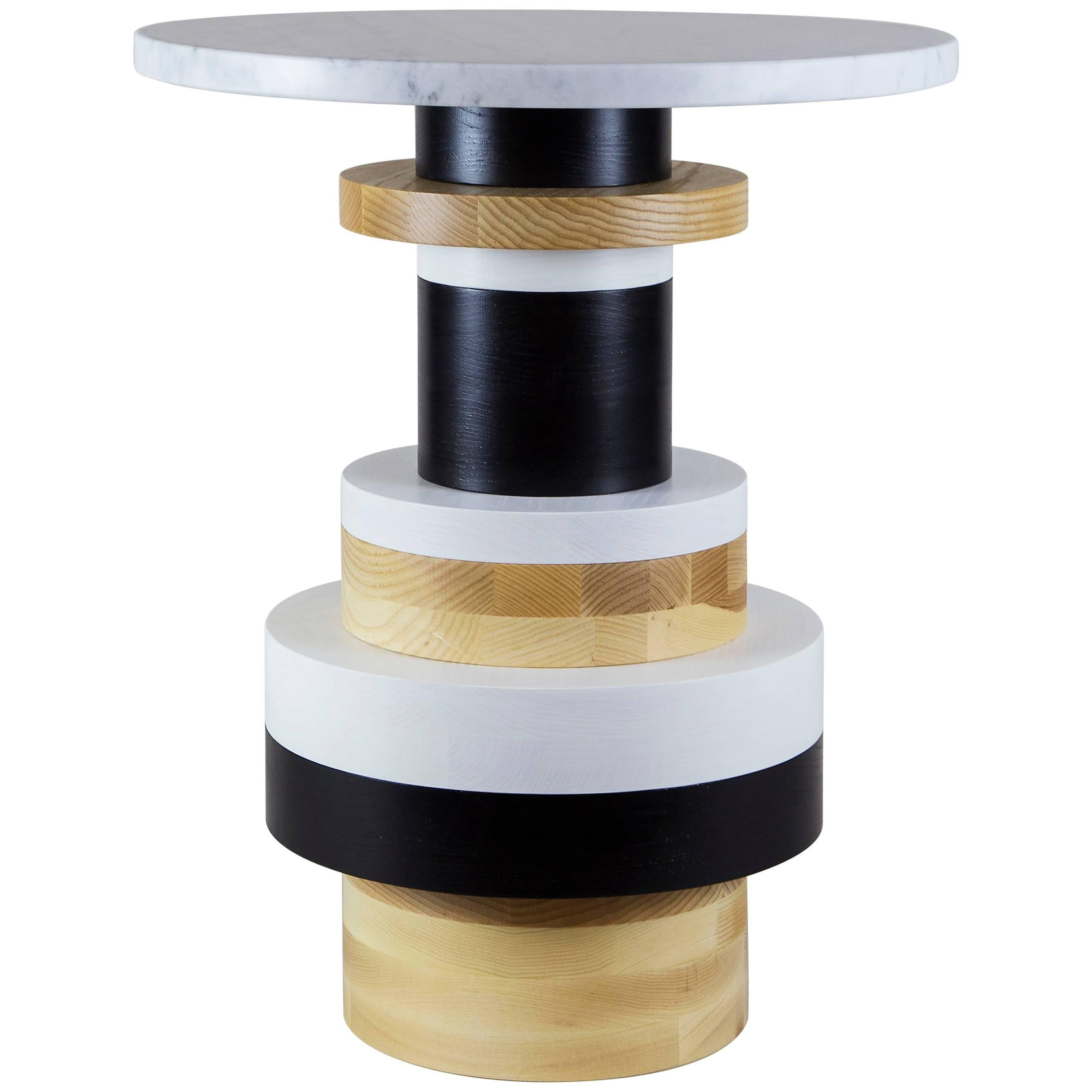 Customizable Tall Sass Side Table from Souda, Large Marble Top, Made to Order