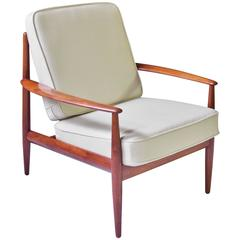 Vintage Grete Jalk Fd-118 Easy Chair in Teak and Beige Wool, 1960s