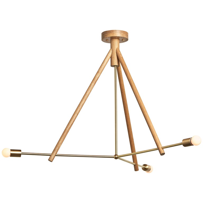 Workstead Lodge Chandelier Three in Natural Oak and Brass  For Sale