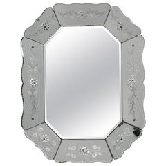 Eight Sided Venetian Mirror with Etched Flowers