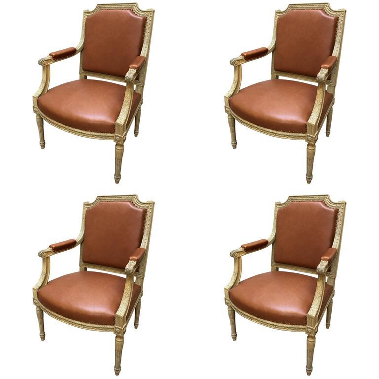 Fine Set of Four 19th Century Louis XVI Style 'Armchairs' Fauteuils