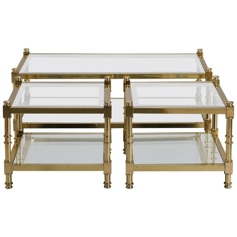 Three Italian Mid-Century Glass and Brass Tables