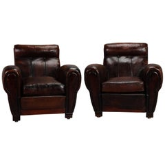 Pair of French Deco Leather Club Chairs