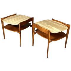 Pair of Italian Travertine and Walnut End Tables, Walker Zanger, 1960s