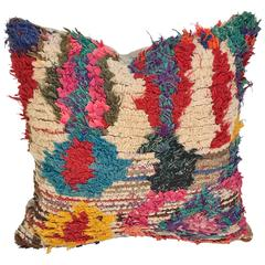 Custom Pillow Cut from a Vintage Hand-Loomed Moroccan Berber Rug