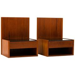 Hans Wegner Pair of Floating Nightstands in Teak with Glass for GETAMA, 1960s