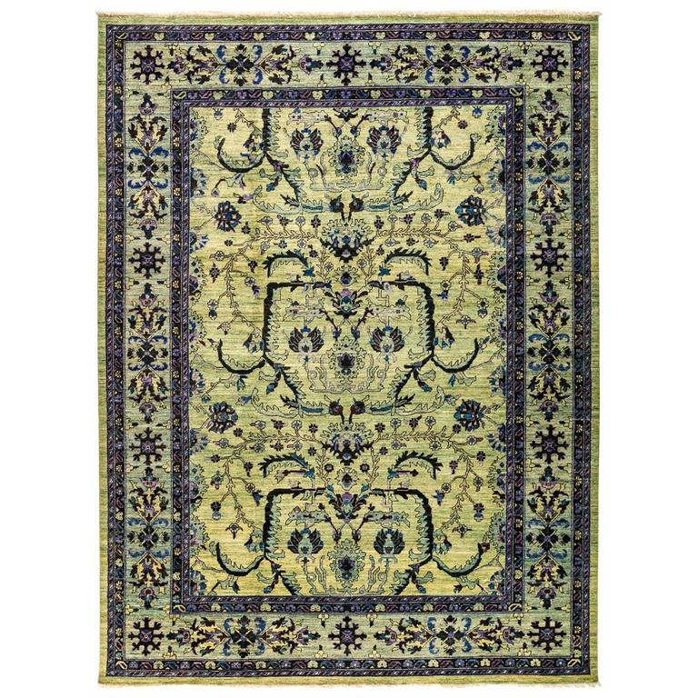 Green Eclectic Area Rug For Sale At 1stdibs