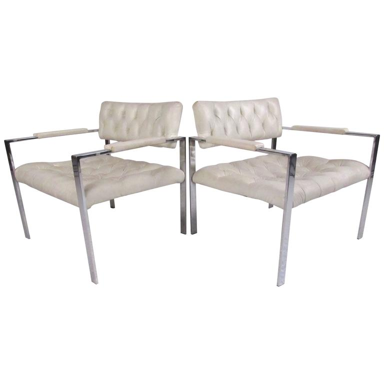 Pair of Chrome Lounge Chairs by Erwin-Lambeth, style of Harvey Probber