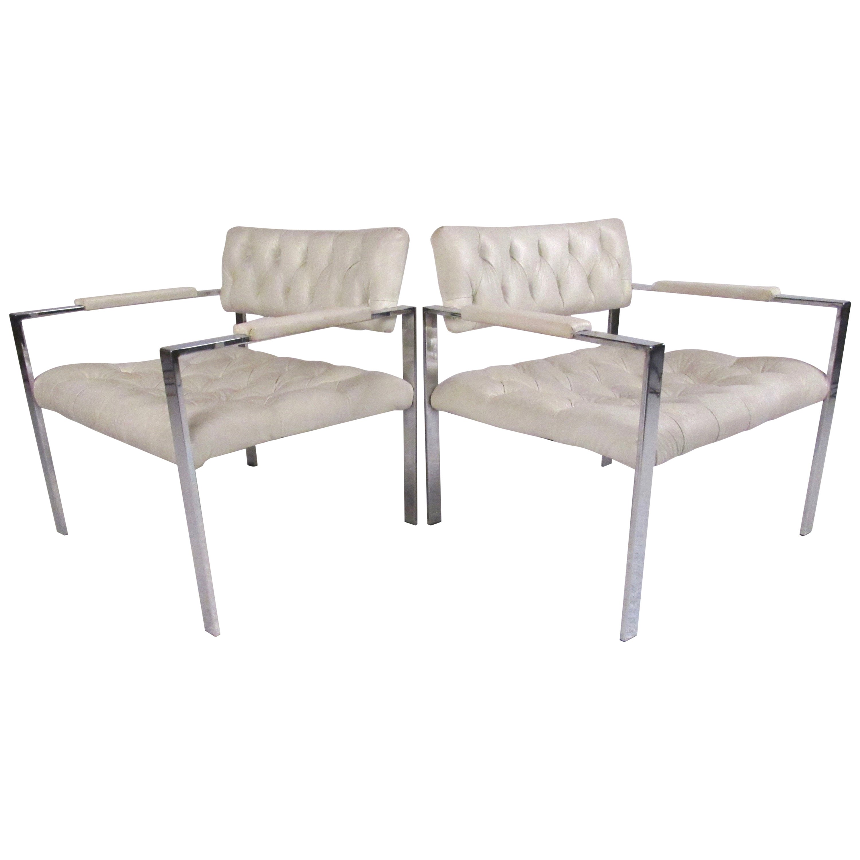 Pair of Chrome Lounge Chairs by Erwin-Lambeth in the style of Harvey Probber
