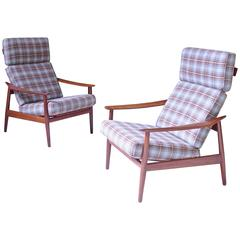 Pair of Arne Vodder FD-164 Reclining Lounge Chairs in Teak and Plaid Wool