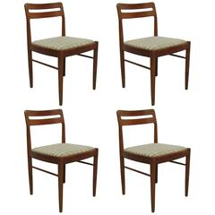 Elegant Set of Four Teak Danish Chairs with Wool Upholstery