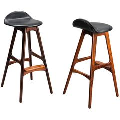 Pair of Rosewood and Leather Bar Stools by Erik Buch