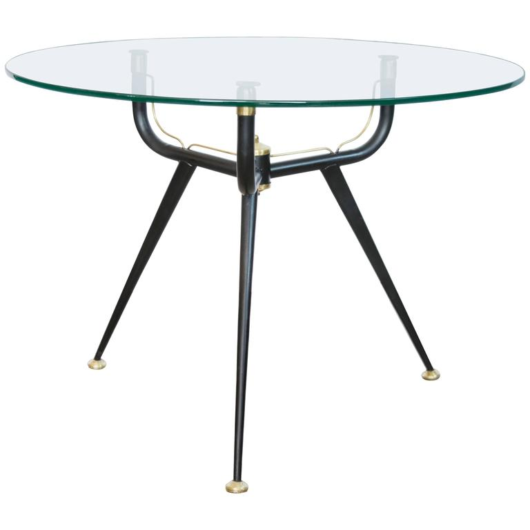 Mid-Century Italian Black Metal and Brass Tripod Side Table 1