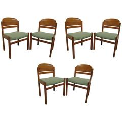 Classic Set of Six Danish Teak Chairs with Light Green Upholstery