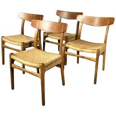 Hans J. Wegner CH23 Dining Chairs, Teak and Paperboard, Denmark, 1950s