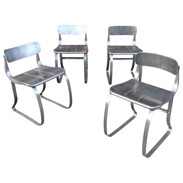 Set of Four Brushed Steel Health Chairs by Herman Sperlich for Ironite