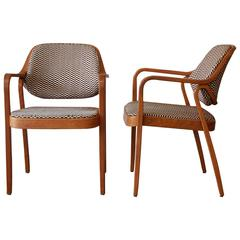 Don Pettit for Knoll International Mid-Century Bentwood Armchairs in Oak, 1979