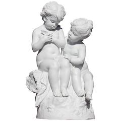 Biscuit Porcelain Sculpture of Children by Mathurin Moreau