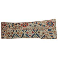 Vintage Embroidery Long Floral Suzani Bolster Decorative Pillow
