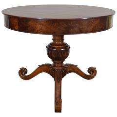 Italian Late Neoclassical Period Carved Walnut Centre Table, circa 1835