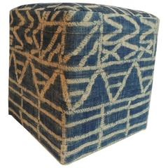 African Blue and Natural Vintage Textile Upholstered Square Ottoman