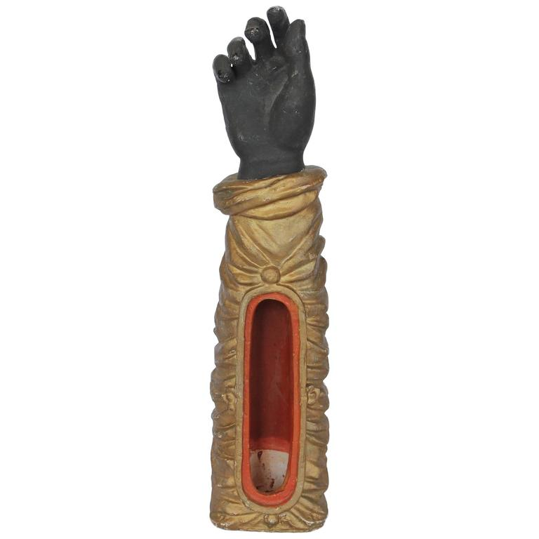 1800s French Terracotta Hand Figurine