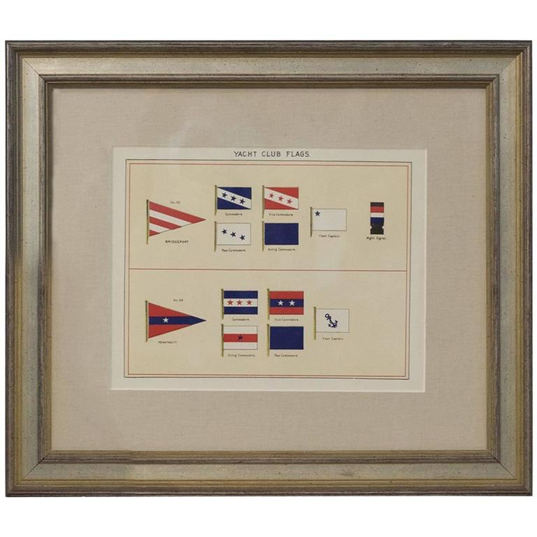 Framed Print Showing Yacht Club Flags For Sale at 1stdibs