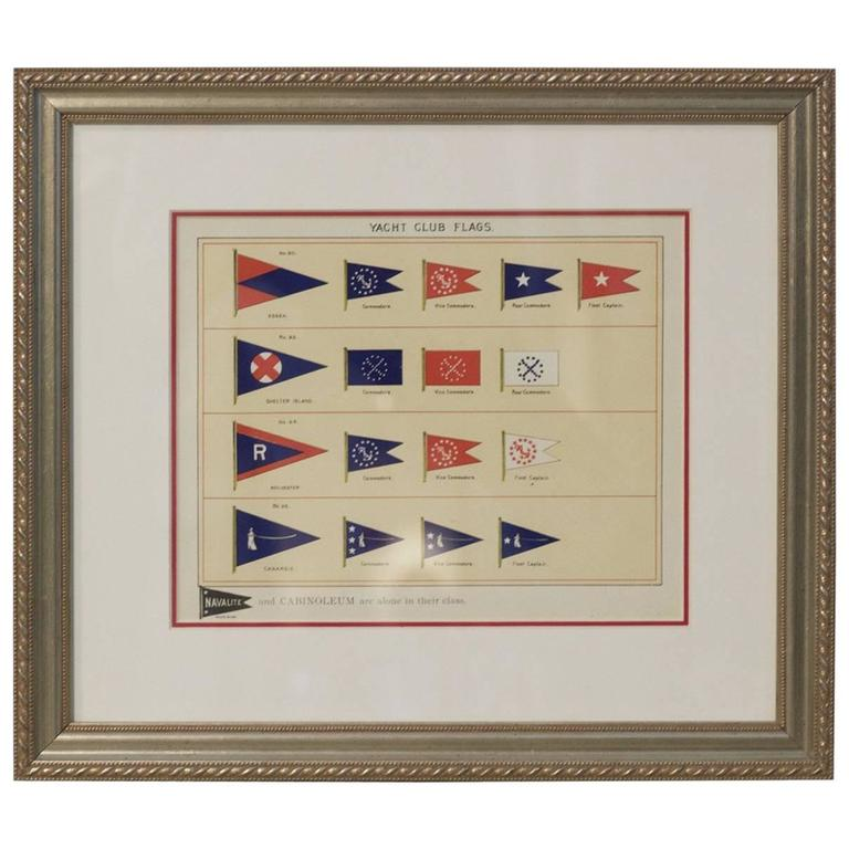 Framed Authentic Page from Lloyd\'s Register of Yacht Clubs For Sale ...