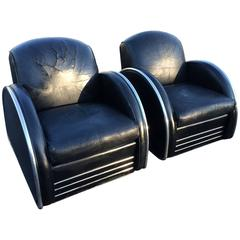 Pair of Distressed Leather Art Deco Club Chairs