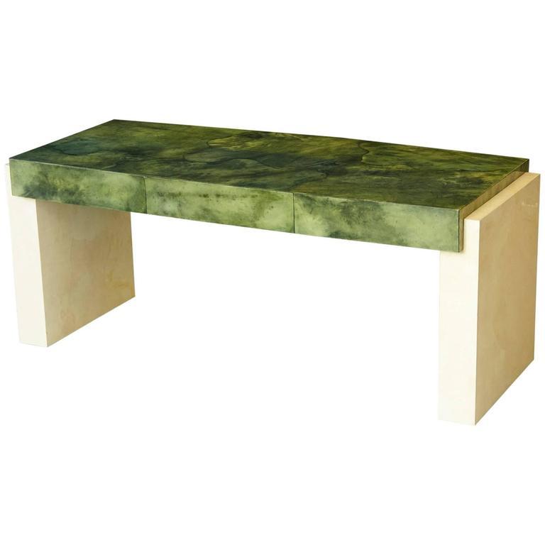 Custom Ordered Karl Springer Marbleized Emerald Green Lacquered Goatskin Desk For Sale