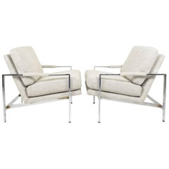 Milo Baughman Chrome Frame Lounge Chairs in Neutral Color New Upholstery
