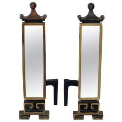 Chinoiserie Antiqued Mirror Andirons
