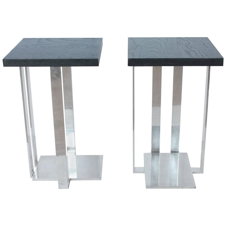 Modern american chrome and ebonized wood side tables for