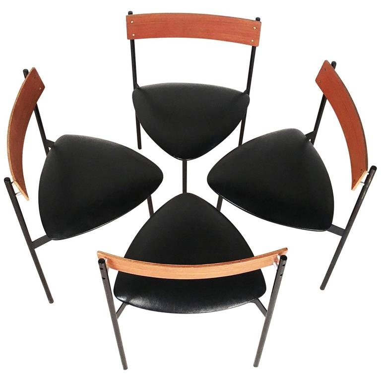 set of four modernist dining chairs by rego moderne m bel for sale at 1stdibs. Black Bedroom Furniture Sets. Home Design Ideas
