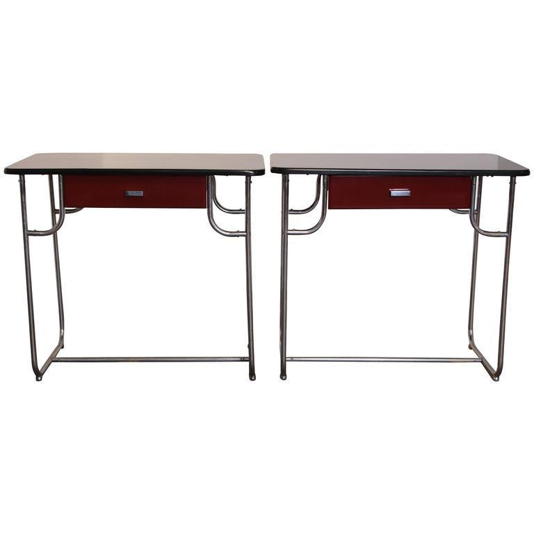 Machine Age Art Deco Lloyd Chromium Furniture Desk Set, Two Desks / One Chair