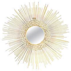Beautiful Brutalist Sunburst Mirror Wall Sculpture
