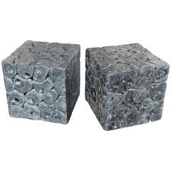 Cross Section Ebonized Teak Architectural Block End Table